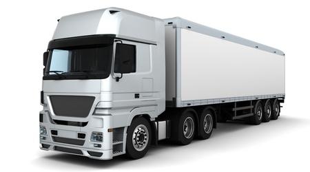 Photo pour 3D Render of a Cargo Delivery Vehicle - image libre de droit