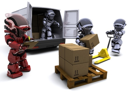 3D render of Robot with Shipping Boxes loading a van