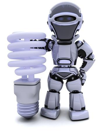 3D render of a robot with energy saving lightbulb