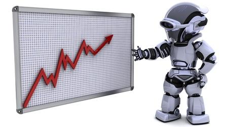 3D render of a robot with a graph chart