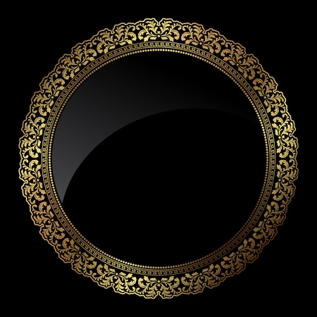 Decorative circular frame in metallic gold colours