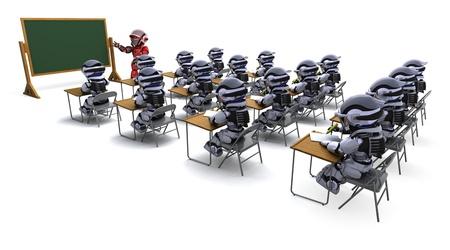 3D render of a robot teacher in classroom