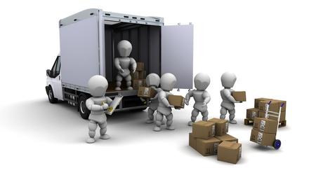 Foto de 3D Render of men packing boxes for shipment - Imagen libre de derechos