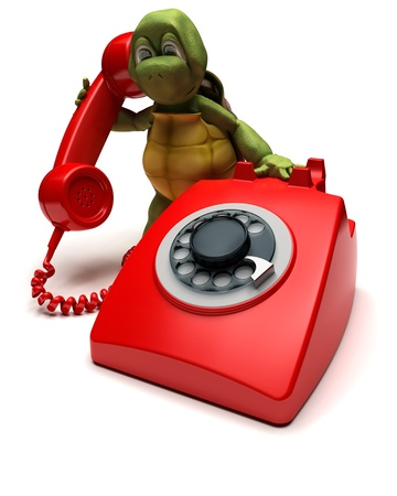 3D render of a tortoise with a telephone