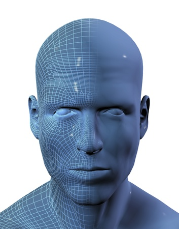 3D render of a males face with half the face in wireframe