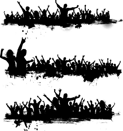 Photo for Collection of three different party crowds on grunge - Royalty Free Image