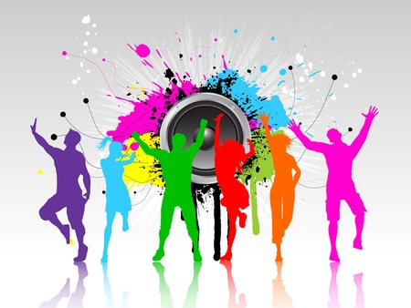 Colourful silhouettes of people dancing on a grunge speaker background