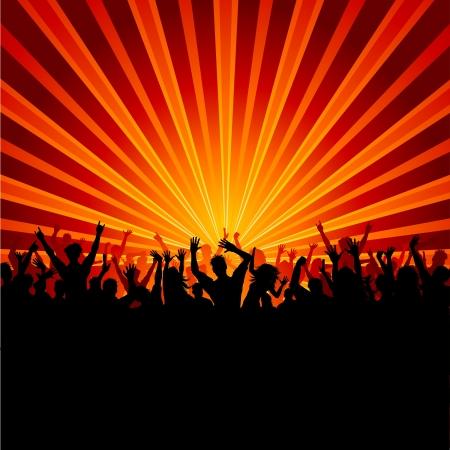 Foto de Silhouette of a huge crowd of party people on a starburst background - Imagen libre de derechos