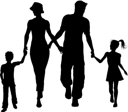 Illustration for Silhouette of a family walking holding hands - Royalty Free Image