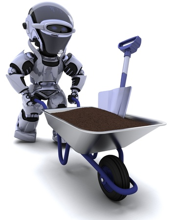 3D render of a robot gardener with a wheel barrow carrying soil