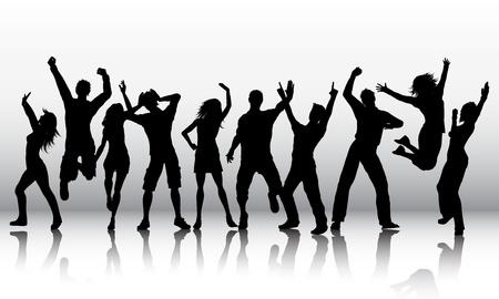 Photo pour Silhouettes of a group of people dancing - image libre de droit