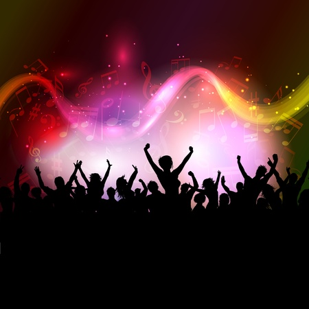 Silhouette of an excited audience on a colourful music notes background