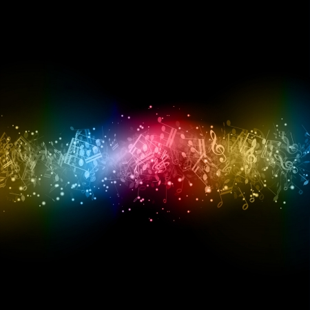 Abstract background with colourful music notes