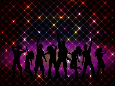 Photo for Silhouettes of people dancing on a disco lights background - Royalty Free Image