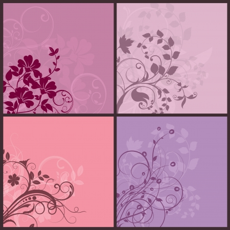 Collection of four different floral design backgrounds
