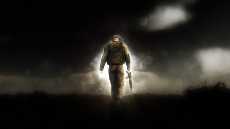 Photo pour Dramatic image of a 3D soldier walking down a path with his head down - image libre de droit