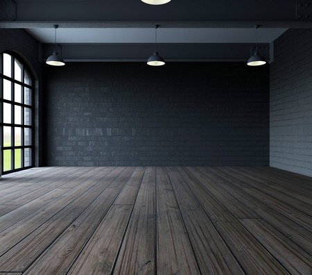 Photo pour 3d render of Blank wall in empty room with windows - image libre de droit