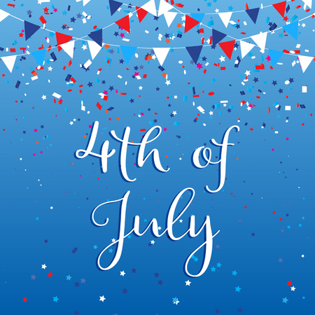 Photo pour 4th July Independence Day background with flags and confetti - image libre de droit