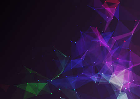Illustration for Abstract background with a low poly network communications design - Royalty Free Image