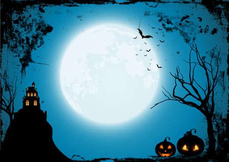 Illustration pour Grunge Halloween background with pumpkins and s spooky castle - image libre de droit
