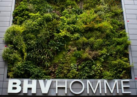 Paris, France, August 17, 2011 - BHV Homme Department store building with vertical garden