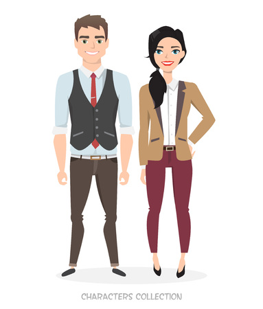 Ilustración de A couple of young characters in business suits. Unisex Style in the modern world. Modern fashion. Gender equality in business and career. - Imagen libre de derechos