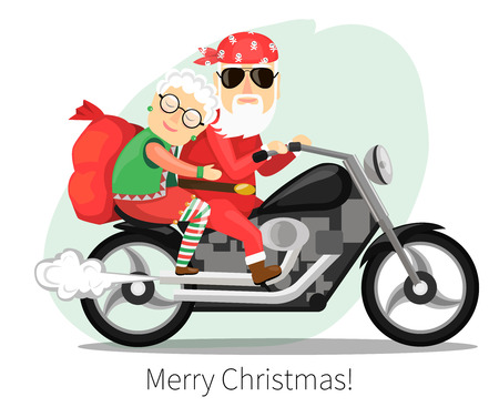 Santa Claus and Mrs. riding on a steep motorcycle