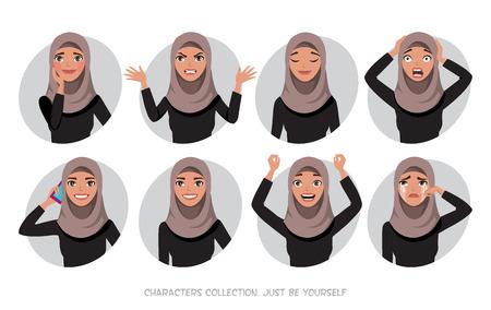 Ilustración de Arab women character is happy and smiling. Cartoon style women with hijab. Emotion of joy and glee on the women face. The women portrait. - Imagen libre de derechos