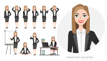 Illustration pour Set of emotions and poses for business woman. Young girl in office suit experiences different emotions and poses - image libre de droit