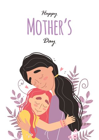 Vektor für Mothers day greeting card. Mom and girl are smiling and hugging. Family holiday and togetherness. Vector - Lizenzfreies Bild