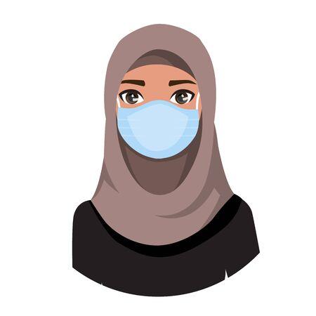 Illustration pour Arab women wearing medical mask to prevent disease, flu, air pollution, contaminated air, world pollution. Vector illustration in a flat style - image libre de droit