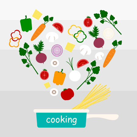 cooking vegetable and spaghetti