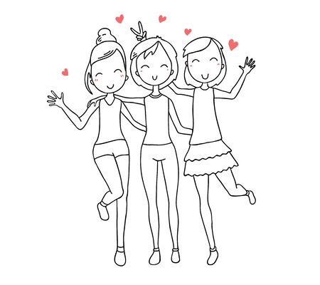 Illustration for Vector illustration of beautiful happy hugging three girls with red hearts. Hand drawn flat line art style girl without color for t-shirt print, coloring book, sticker, web, site, greeting card, romantic poster - Royalty Free Image