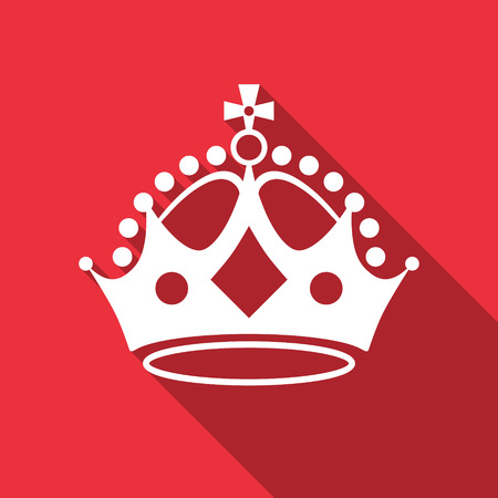 White crown on red. Vector illustration.