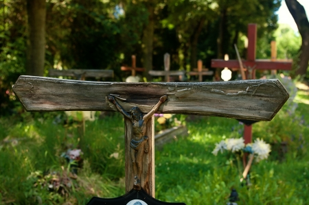 Franciscan Cross of Jesus and the cemetery.