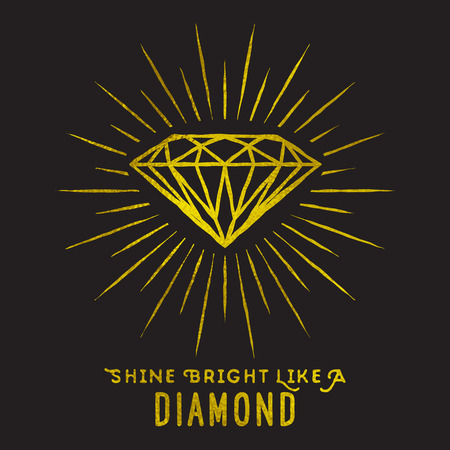 Hipster style of diamond shape on star light with quote -Shine bright like a diamond.Golden foil texture.