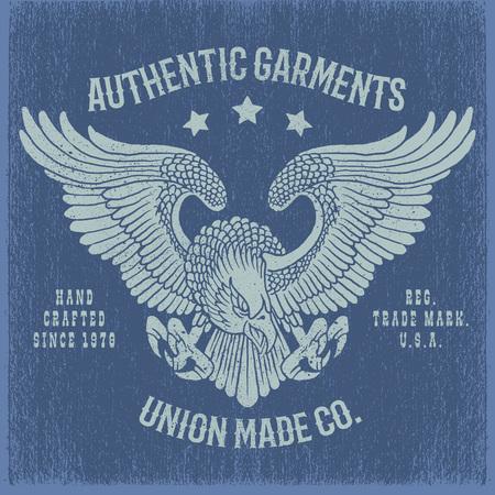 Eagle vintage illustration.Tee or apparel print design with grunge effect.
