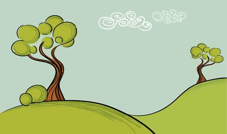 Illustration pour trees landscape background.Easy to edit layers. - image libre de droit