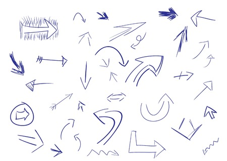 Collection of hand drawn doodle style arrows in various directions and styles.