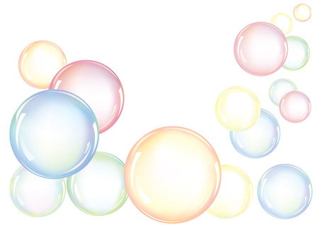 An arrangement of colorful soap bubbles floating in the air