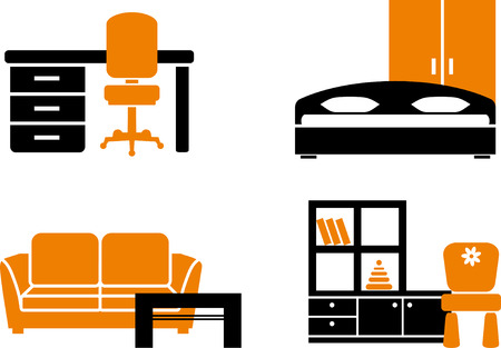 Icon set - home furniture items