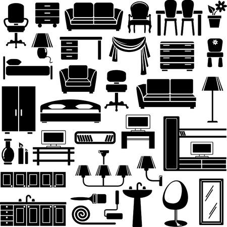 Furniture end lighting icons set