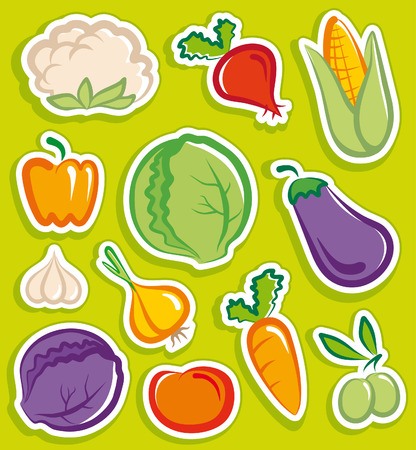 Vegetables stickersのイラスト素材