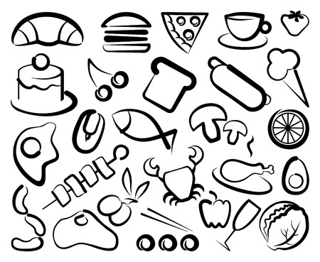 Simple icons of food