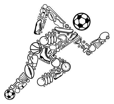 Illustration pour Silhouette of the running person from sports symbols - image libre de droit