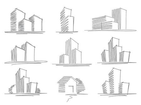 Foto de Sketches of buildings - Imagen libre de derechos