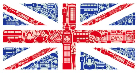 Illustration pour Flag of England from symbols of the United Kingdom and London - image libre de droit