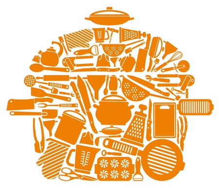 Icons of kitchen ware and utensils in the form of a pan