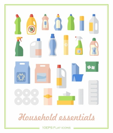Toilet paper, wipes and cleaning supplies on showcase in a flat icons