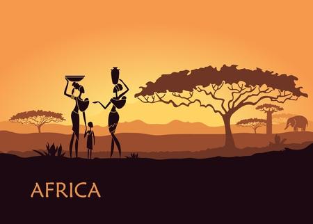 Ilustración de African landscape with local women and child - Imagen libre de derechos